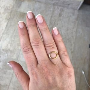 Anthropologie Open Circle Gold Plated Ring Size 7